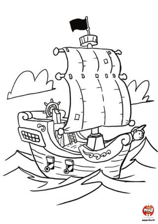 Que serait un pirate sans son bateau !? Il serait bien triste car il ne pourrait plus naviguer sur les mers. Va vite sur TFou.fr et imprime gratuitement ce super coloriage de bateau pirate. Colorie-le avec les couleurs de ton choix et personnalise-le ! Tu peux dessiner un emblème sur la grande voile blanche et sur le pavillon noir. Hé oui ! Tout pirate qui se respecte à un emblème sur ses voiles et son pavillon pour se faire reconnaitre... et faire peur !!! Imprime gratuitement ce coloriage de bateau pirate pour enfant et fait lui prendre vie !