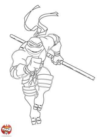 Coloriage: Tortue Ninja court