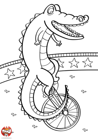 Coloriage: Crocodile de cirque
