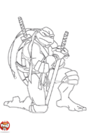 Tortue Ninja accroupie