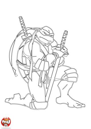Coloriage: Tortue Ninja accroupie