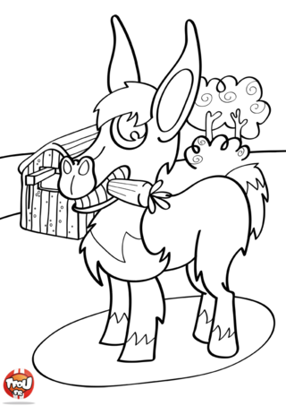 Coloriage: L'âne et sa carotte