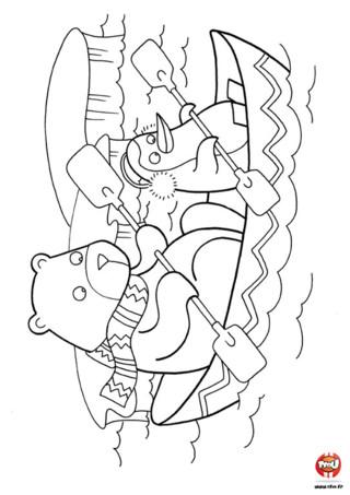 Coloriage : Ours polaire en bateau. Les ours polaires aussi se baladent en bateau. imprime vite ce joli coloriage et ajoute les couleurs de ton choix.