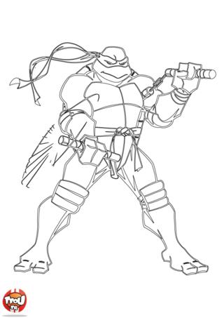 Coloriage: Tortue Ninja s'entraîne