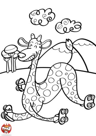 Coloriage: Belle gamelle pour girafe
