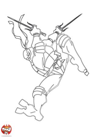 Coloriage: Tortue Ninja saute