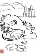 Hippopotame et oiseau
