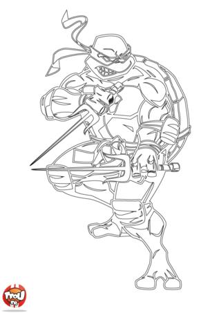 Coloriage: Tortue Ninja épées