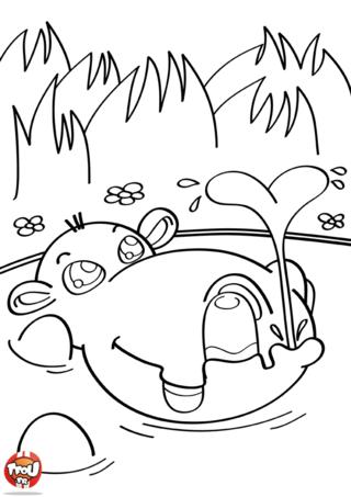 Coloriage: Hippo joue dans l'eau