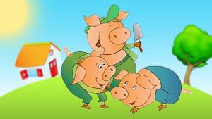 Coloriage Les 3 petits cochons