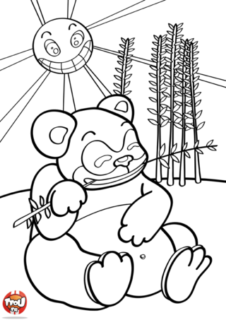 Coloriage: Panda mange du bambou