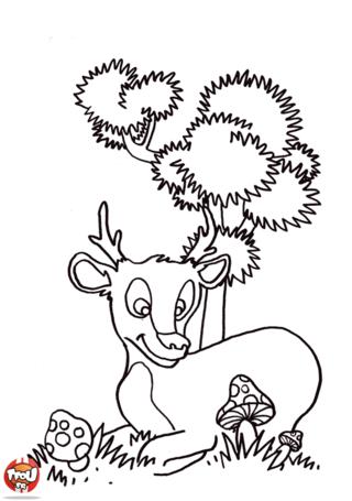 Coloriage: Biche dans la forêt