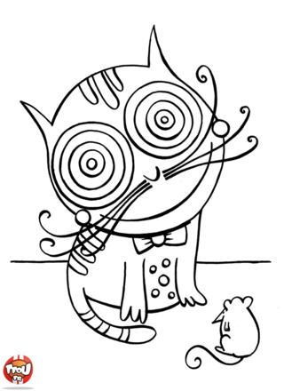 Coloriage: Chat aux grands yeux