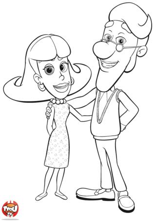Coloriage: Monsieur et madame Neutron