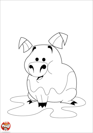 Coloriage: Cochon dans la boue