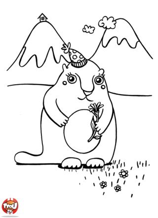 Coloriage: Marmotte en montagne