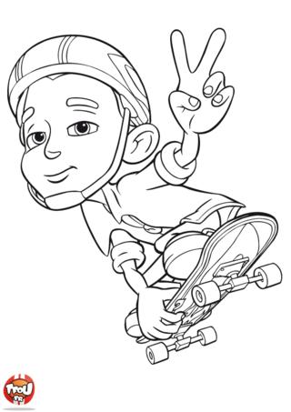 Coloriage: Nick Dean saute en skate