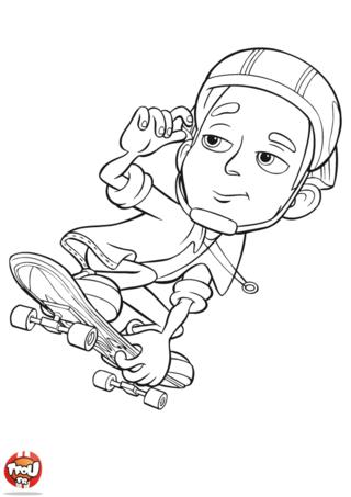Coloriage: Nick Dean pose en skate