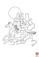 coloriage cheval - Le cheval dans le canyon