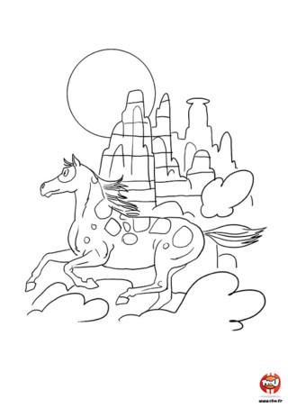 Sur TFou.fr, tu peux retrouver un max de coloriages gratuits pour enfants spécial cheval. Imprime celui-ci et éclate-toi avec tes feutres ou tes crayons de couleur. Ce coloriage représente un cheval en train de galoper dans un canyon. C'est une belle journée et le soleil brille. Le cheval est pressé de rejoindre son groupe, tellement pressé qu'il fait de la poussière sur le sol avec ses sabots. Il n'attend plus que tes couleurs pour aller encore plus vite !
