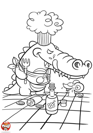 Coloriage: Crocodile affamé