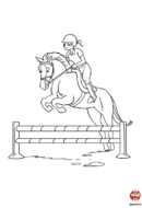 coloriage cheval - Harry et Tania font du saut d'obstacles