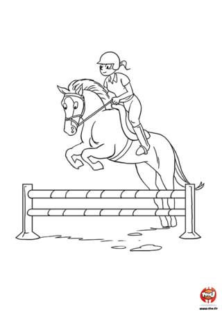 Voici Harry et Tania que tu peux imprimer et colorier sur TFou.fr. Harry est un cheval super doué pour le saut d'obstacles. Normal, avec Tania pour l'entrainer il ne peut que sauter toujours plus haut et aller toujours plus vite ! Regarde comme il est majestueux en pleine action. Tu peux aussi remarquer le petit sourire de Tania qui est très contente car Harry est le meilleur des partenaires mais aussi son meilleur ami. Imprime ce coloriage gratuit pour enfant sur TFOU.fr si toi aussi tu es un fan de chevaux.