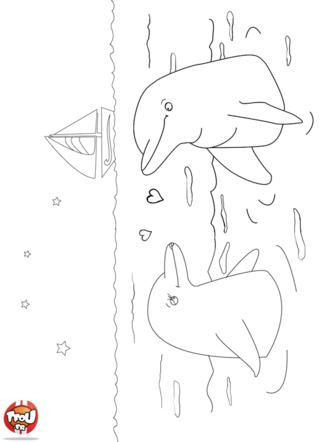 Coloriage: Dauphins amoureux