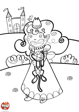 Coloriage: Princesse trouve un chat