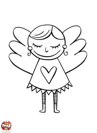 Coloriage: Petit ange de Noël