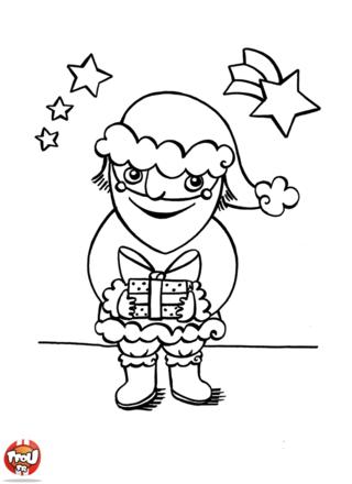 Coloriage: Papa Noël et cadeau