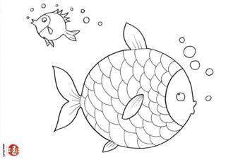 Coloriage : Un gros et un petit poisson qui font des bulles. Ce coloriage à imprimer de poisson est drôlement rigolo, regarde, ils font des bulles ! Ces deux poissons ont l'air de bien s'amuser ensemble. Une fois imprimé et colorié, cela va faire un joli coloriage à accrocher dans ta chambre. Tu peux colorier les écailles du gros poisson qui fait des bulles avec plein de couleurs différentes si tu le souhaites. Et ensuite le tout petit poisson à côté de lui qui fait des bulles également. Imprime gratuitement ce coloriage de deux poissons qui font des bulles sur TFou ! Et si tu es fan de poisson découvre l'intégralité des coloriages de la rubrique poisson sur TFou.fr !