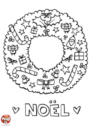 Coloriage: Couronne de Noël