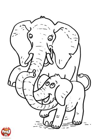 Coloriage: Eléphant et son bébé