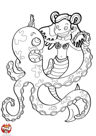 Coloriage: Sirène danse avec la pieuvre