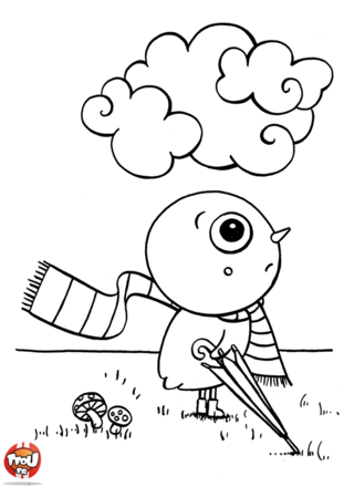 Coloriage : sur ce coloriage à imprimer, ce petit poussin n'a pas l'air de trop aimer la pluie. C'est normal un gros nuage se trouve juste au-dessus de sa tête. Heureusement ce petit poussin est prévoyant il a pris son parapluie et a entouré son coup d'une longue écharpe ! Imprime ce coloriage et aide ce petit poussin à redevenir plus joyeux grâce à tes feutres ou crayons de couleur, tu pourras ensuite l'accrocher dans ta chambre. Si tu aimes les coloriages de poussin ne change pas de rubrique et imprime-les tous !