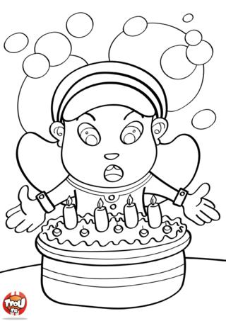 Coloriage: Pour mes 4 ans