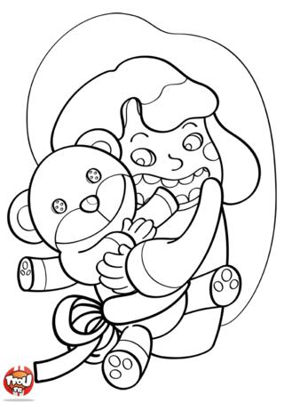 Coloriage: Le nounours en cadeau
