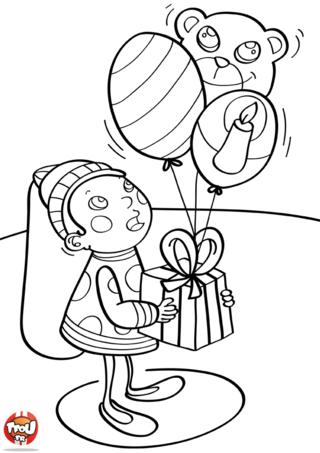 Coloriage: Cadeau qui peut voler