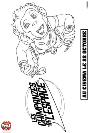 Coloriage: Chimpanzé aux commandes