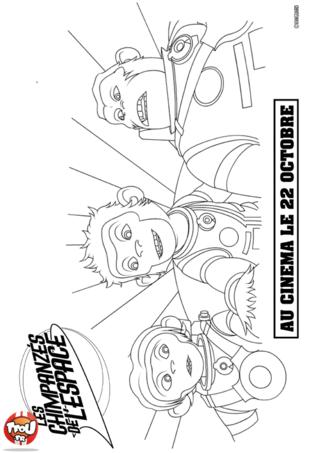 Coloriage: Le trio des chimpanzés