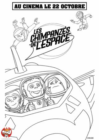 Coloriage: Les chimpanzés dans leur navette