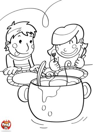 Coloriage: Bon appétit les enfants