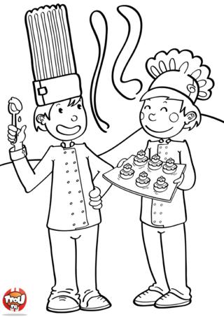 Coloriage: La cantine du chef