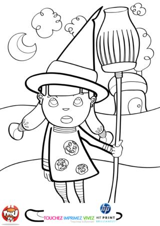 Coloriage: La petite fille en sorcière