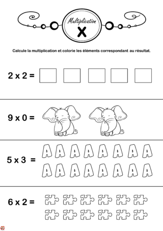 Coloriage: Multiplication 2