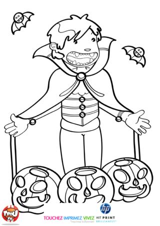 Coloriage: Vampire aux trois citrouilles