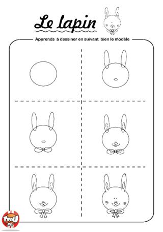 Coloriage: Dessine un lapin