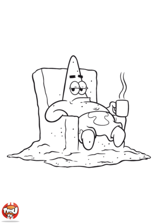 Coloriage: Patrick prend le café