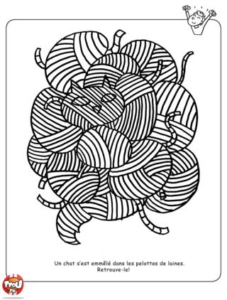 Coloriage: Un chat dans les pelottes
